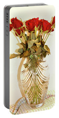 Crystal And Red Roses Portable Battery Charger