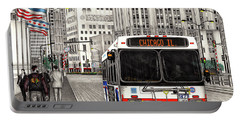 Cta Bus On Michigan Avenue Portable Battery Charger