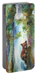 Cub Bear Climbing Portable Battery Charger by Christy Freeman