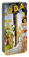 Cuba Holiday Isle Of The Tropics Vintage Poster Portable Battery Charger