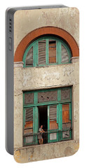 Portable Battery Charger featuring the photograph Cuban Woman On San Pedro Balcony Havana Cuba by Charles Harden