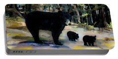 Cubs With Momma Bear - Dreamy Version - Black Bears Portable Battery Charger