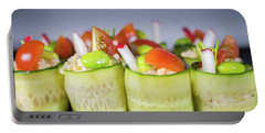 Portable Battery Charger featuring the photograph Cucumber Rice Rolls On Plate by William Lee