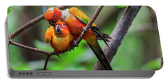 Portable Battery Charger featuring the photograph Cuddling Parrots by Pradeep Raja Prints