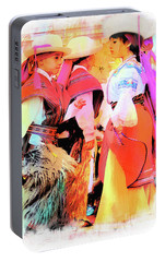 Portable Battery Charger featuring the photograph Cuenca Kids 884 by Al Bourassa