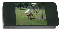 Cujo Running At The Park Portable Battery Charger by Val Oconnor
