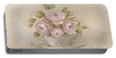 Cup And Saucer  Pink Roses Portable Battery Charger