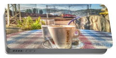 Cup Of Coffee On A Sunny Day Portable Battery Charger