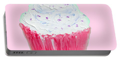 Cupcake Painting On Pink Background Portable Battery Charger