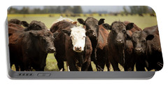 Portable Battery Charger featuring the photograph Curious Cows by Rebecca Cozart
