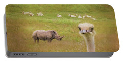Curious Ostrich And White Rhino Portable Battery Charger