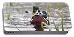 Portable Battery Charger featuring the photograph Curious Wood Duck by Lynn Hopwood