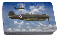 Portable Battery Charger featuring the digital art Curtis P-40 Warhawks by Kai Saarto
