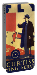 Curtiss Flying Service - Art Deco Poster - Vintage Advertising Poster  Portable Battery Charger