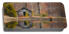 Custom Crop - Cabin By The Lake Portable Battery Charger by Shelby  Young