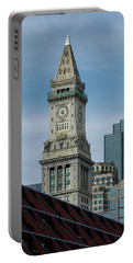 Portable Battery Charger featuring the photograph Custom House, Boston, Ma by Betty Denise