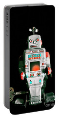 Cute 1970s Robot On Black Background Portable Battery Charger