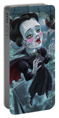 Portable Battery Charger featuring the digital art Cute Gothic Horror Vampire Woman by Martin Davey