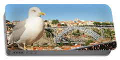Cute Seagull And Porto's Cityscape Portable Battery Charger