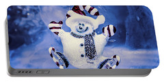 Cute Snowman In Ice Skates Portable Battery Charger