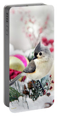 Cute Winter Bird - Tufted Titmouse Portable Battery Charger