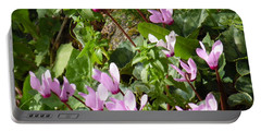 Portable Battery Charger featuring the painting Cyclamen In Spring by Esther Newman-Cohen