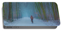 Cycling In The Snow Portable Battery Charger