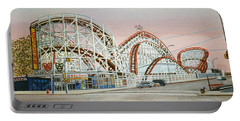 Cyclone Rollercoaster In Coney Island New York Portable Battery Charger