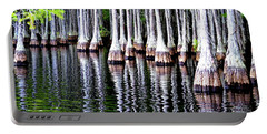 Portable Battery Charger featuring the photograph Cypress Tree Reflection by Tara Potts