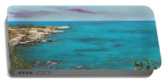Portable Battery Charger featuring the painting Cyprus - Protaras by Anastasiya Malakhova