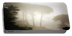 Cyprus Tree Grove In Fog Portable Battery Charger