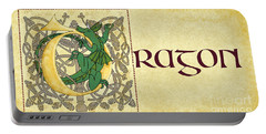 Portable Battery Charger featuring the digital art D Is For Dragon Page Gold by Donna Huntriss