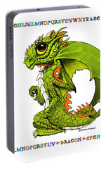 Portable Battery Charger featuring the digital art D Is For Dragon by Stanley Morrison
