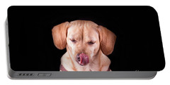Dachshund Mix Licking Lips Portable Battery Charger
