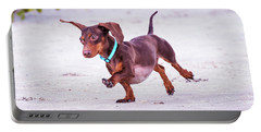 Dachshund On Beach Portable Battery Charger by Stephanie Hayes