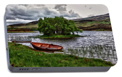 Portable Battery Charger featuring the painting Dads Fishing Spot P D P by David Dehner