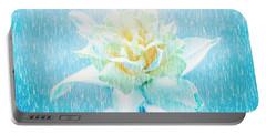 Daffodil Flower In Rain. Digital Art Portable Battery Charger