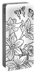 Daffodils And Butterflies Drawing Portable Battery Charger