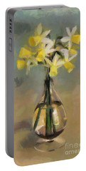Daffodils In Glass Vase Portable Battery Charger by Dragica Micki Fortuna