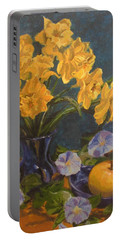 Portable Battery Charger featuring the painting Daffodils by Karen Ilari