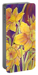 Portable Battery Charger featuring the mixed media Daffodils by Teresa Ascone