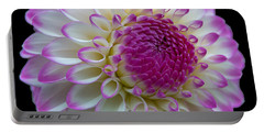 Dahlia Fine Art On Black Portable Battery Charger