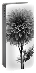 Dahlia In Black And White Portable Battery Charger by Mark Alder