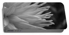 Dahlia Petals In Black And White Portable Battery Charger