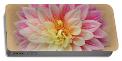 Portable Battery Charger featuring the photograph Dahlia With Golden Background by Mary Jo Allen