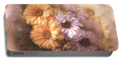 Portable Battery Charger featuring the digital art Dahlias In Multiples by Bonnie Willis