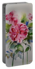 Portable Battery Charger featuring the painting Dahlias Still Life Flowers by Geeta Biswas