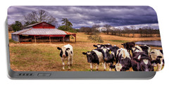Dairy Heifer Groupies The Red Barn Dairy Farming Art Portable Battery Charger