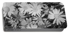 Daisies Black And White Portable Battery Charger