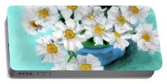 Daisies In Blue Bowl Portable Battery Charger